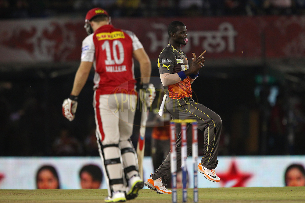 Darren Sammy celebrates the wicket of David Miller during match 59 of of the Pepsi Indian Premier League between The Kings XI Punjab and the Sunrisers Hyderabad held at the PCA Stadium, Mohal, India  on the 11th May 2013..Photo by Ron Gaunt-IPL-SPORTZPICS ..Use of this image is subject to the terms and conditions as outlined by the BCCI. These terms can be found by following this link:..http://www.sportzpics.co.za/image/I0000SoRagM2cIEc