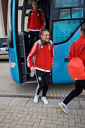 CARDIFF, WALES - Friday, August 19, 2016: Wales' Nia Jones arrives at Rodney Parade ahead of the international friendly match against Republic of Ireland at Rodney Parade. (Pic by David Rawcliffe/Propaganda)
