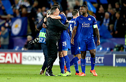 Leicester City manager Craig Shakespeare celebrates with his players after his side beat Sevilla - Mandatory by-line: Robbie Stephenson/JMP - 14/03/2017 - FOOTBALL - King Power Stadium - Leicester, England - Leicester City v Sevilla - UEFA Champions League round of 16, second leg