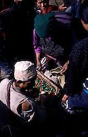 Selling chillies at the Saturday market in Namche Bazaar, Sollu Khumbu National Park, the Himalayas, Nepal
