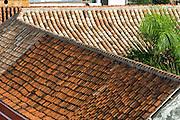 Tile roofs at old quarter, Cartagena de Indias, Bolivar Department,, Colombia, South America. .