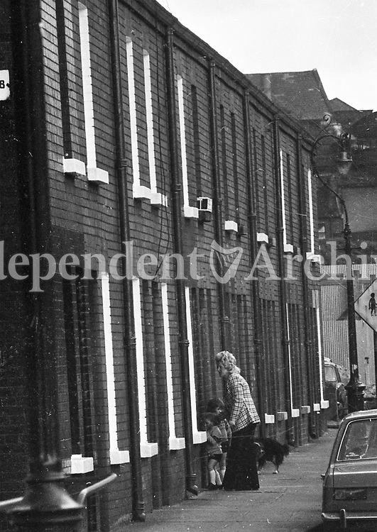 A woman and children at a house on a strret in the Liberties in Dublin, May 1975. <br />