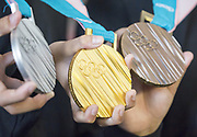 Medals of the 2018 PyeongChang Winter Olympics, Sep 21, 2017 : Athletes show medals of the 2018 PyeongChang Winter Olympics at an unveiling ceremony in Seoul, South Korea. The XXIII Olympic Winter Games will be held in PyeongChang, about 180 km (112 miles) east of Seoul for 17 days from February 9-25, 2018. Photo by Lee Jae-Won (SOUTH KOREA) www.leejaewonpix.com