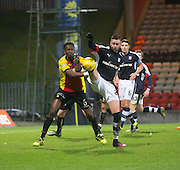 Dundee&rsquo;s Marcus Haber and Partick Thistle's Abdul Osman - Partick Thistle v Dundee in the Ladbrokes Scottish Premiership at Firhill, Glasgow - Photo: David Young, <br /> <br />  - &copy; David Young - www.davidyoungphoto.co.uk - email: davidyoungphoto@gmail.com