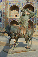 Ouzbekistan, Boukhara, patrimoine mondial de l Unesco, Statue de Nasr Eddin Hodja // Uzbekistan, Bukhara, Unesco world heritage, Nasr Eddin Hodja statue