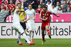 29.03.2014, Allianz Arena, Muenchen, GER, 1. FBL, FC Bayern Muenchen vs TSG 1899 Hoffenheim, 28. Runde, im Bild l-r: im Zweikampf, Aktion, mit Andreas Beck #2 (TSG 1899 Hoffenheim) und Franck Ribery #7 (FC Bayern Muenchen) // during the German Bundesliga 28th round match between FC Bayern Munich and TSG 1899 Hoffenheim at the Allianz Arena in Muenchen, Germany on 2014/03/29. EXPA Pictures © 2014, PhotoCredit: EXPA/ Eibner-Pressefoto/ Kolbert<br /> <br /> *****ATTENTION - OUT of GER*****