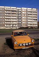 GDR, German Democratic Republic, Eastberlin, in the district Pankow, Trabant car.....DDR, Deutsche Demokratische Republik, Ostberlin, im Stadtteil Pankow, Trabi...1990