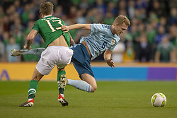 November 15, 2018 - Dublin, Ireland - Jeff Hendrick of Ireland and George Seville of N.Ireland fight for the ball during the International Friendly match between Republic of Ireland and Northern Ireland at Aviva Stadium in Dublin, Ireland on November 15, 2018  (Credit Image: © Andrew Surma/NurPhoto via ZUMA Press)