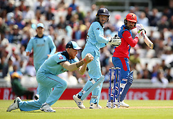 England's Ben Stokes (left) catches out Afghanistan's Rashid Khan (right) during the ICC Cricket World Cup Warm up match at The Oval, London.
