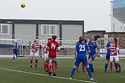 Forfar Farmington's Megan McCarthy loops home a header for the winning goal - Forfar Farmington v Hamilton Academical in the SWPL Premier League One at Station Park, Forfar, <br /> <br /> <br />  - &copy; David Young - www.davidyoungphoto.co.uk - email: davidyoungphoto@gmail.com