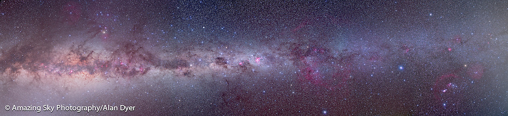 A 13-segment mosaic of the southern Milky Way, from Orion at right to Scutum at left. Shot over 2 nights, March 2010 from Atacama Lodge near San Pedro de Atacama in Chile. Same 10-section mosaic was shot on the two nights, and this panorama makes use of frames selected from the 2 nights: 2 segments for Orion and Canis Major were from night #2 and segments for Scorpius and Sagittarius are a blend of the final 3 segments each shot on the two nights; centre area from Puppis to Centaurus are all segments shot on night #1. Each segment is a stack of 3 to 4 exposures, each 6 minutes at f/4 and ISO 800 with a Canon L-Series 35mm lens and Canon 5D MkII DSLR, filter modified by Hutech. Plus each segment has an exposure of 6 minutes with a Kenko Softon filter layered in at 25% opacity to add the star glows. All aligned and blended with Photoshop CS4. Brightening below Milky Way at left of frame is Zodiacal Light in the pre-dawn sky.