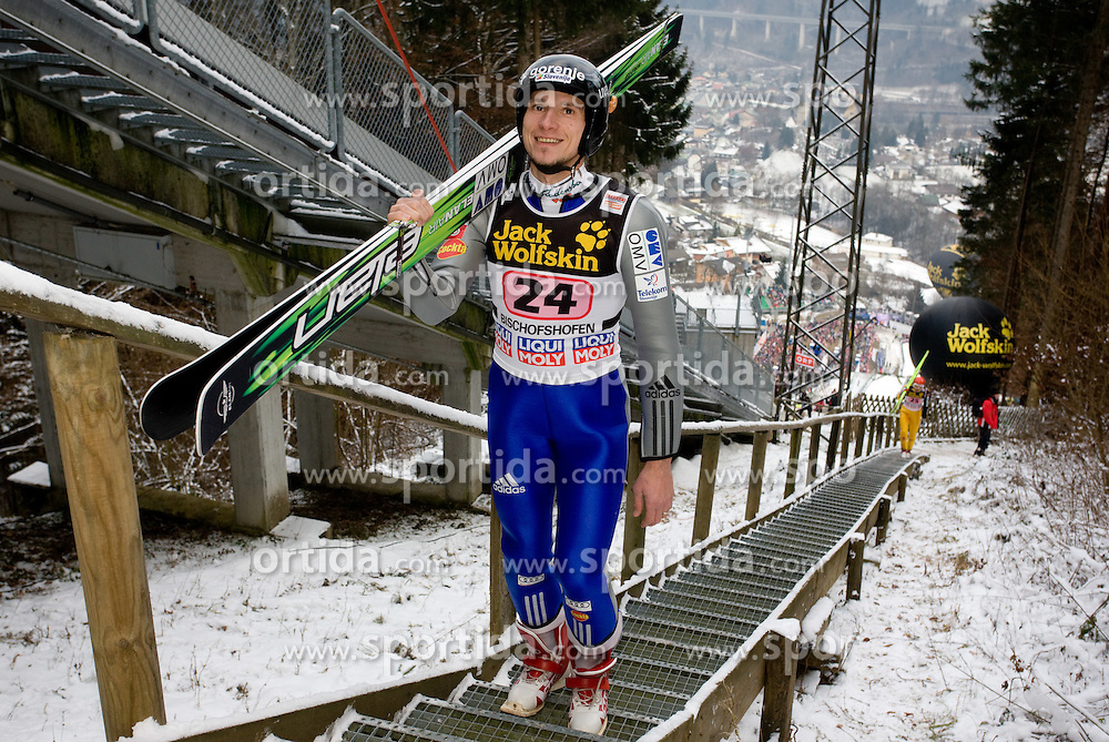 Robert Kranjec of Slovenia during Trial round of the FIS Ski Jumping World Cup event of the 58th Four Hills ski jumping tournament, on January 6, 2010 in Bischofshofen, Austria. (Photo by Vid Ponikvar / Sportida)