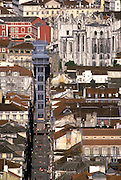 PORTUGAL, LISBON the Baixa (lower city) overview of area rebuilt after the 1755 earthquake with the Carmo Church and Eiffel's elevator