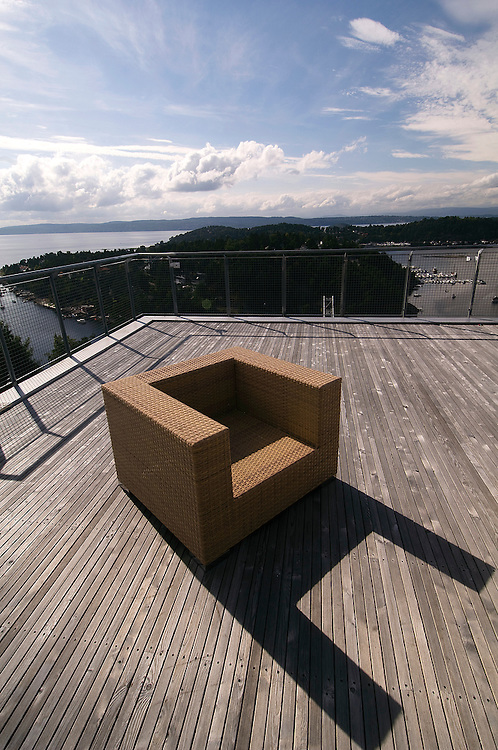 "View from Cliffhanger Villa in Oslo, Norway. Contemporary architecture is expressed by the Norwegian program ""The National Tourist Routes"". These projects aim to open up the stunning Norwegian landscape to tourists through a series of architectural viewpoints that enhance their surroundings."