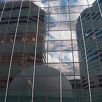 Buildings in the Rosslyn neighborhood of Arlington, VA in reflection