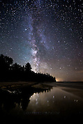 The Milky Way shines brightly during the new moon at Hurricane River in Pictured Rocks National Lakeshore on the shores of Lake Superior