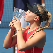 2017 U.S. Open Tennis Tournament - DAY FOURTEEN. Amanda Anisimova of the United States with the winners trophy after her win against Cori Gauff of the United States in the Junior Girls' Singles Final at the US Open Tennis Tournament at the USTA Billie Jean King National Tennis Center on September 10, 2017 in Flushing, Queens, New York City.  (Photo by Tim Clayton/Corbis via Getty Images)