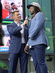 NFL Network reporter Scott Hanson interviews Shaquem Griffin after the Seattle Seahawks selected the UCF linebacker with the 141st overall pick during the final day of the 2018 NFL Draft at AT&T Stadium in Arlington, Texas, on Saturday, April 28, 2018. (Max Faulkner/Fort Worth Star-Telegram/TNS/ABACAPRESS.COM
