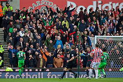 STOKE-ON-TRENT, ENGLAND - Saturday, April 30, 2016: Sunderland supporters react as Stoke City miss a chance during the FA Premier League match at the Britannia Stadium. (Pic by David Rawcliffe/Propaganda)
