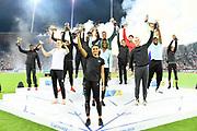 IAAF Diamond League winners Noah Lyles (USA), 100m; Donavan Brazier (USA), 800m; Joshua Cheptegei (UGA), 5,000m; Karsten Warholm (NOR), 400 hurdles; Andriy Protsenko (UKR), high jump; Sam Kendricks (USA), pole vault; Juan Miguel Echevarria (CUB), long jump; Magnus Kirt (EST), javelin; Shaunae Miller-Uibo (BAH), women's 200m; Salwa Eid Naser (BRN), women's 400m; Eunice Sum (KEN), women's 800m; Sifan Hassan (NED), women's 1,500m; Beatrice Chepkoech (KEN), women's steeplechase, Sydney McLaughlin (USA), women's 400m hurdles; Anzhelika Sidorova (RUS), Shanieka Ricketts (JAM), women's triple jump; Lijiao Gong (CHN), women's shot put; and Huihui Lyu (CHN), women's javelin, pose with trophies during the Weltkasse Zurich at Letzigrund Stadium, Thursday, Aug. 29, 2019, in Zurich, Switzerland. (Jiro Mochizuki/Image of Sport)