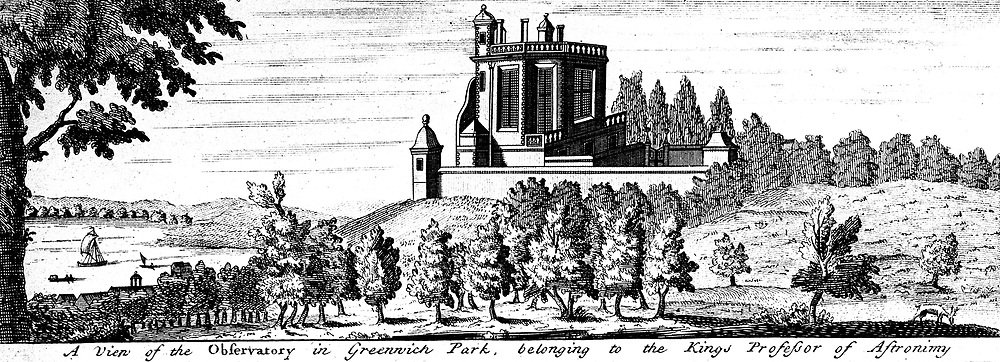 Flamsteed House in Greenwich Park, London, designed by Christopher Wren on the orders of Charles II as an Observatory.  At this date the problem of finding longitude at sea  was unsolved and the observatory was built in the expectation that it would be possible to produce tables to enable mariners to plot their position. The first nation to solve the problem would have naval and mercantile advantage.   John Flamsteed was the first Astronomer Royal. 17th century copperplate engraving.
