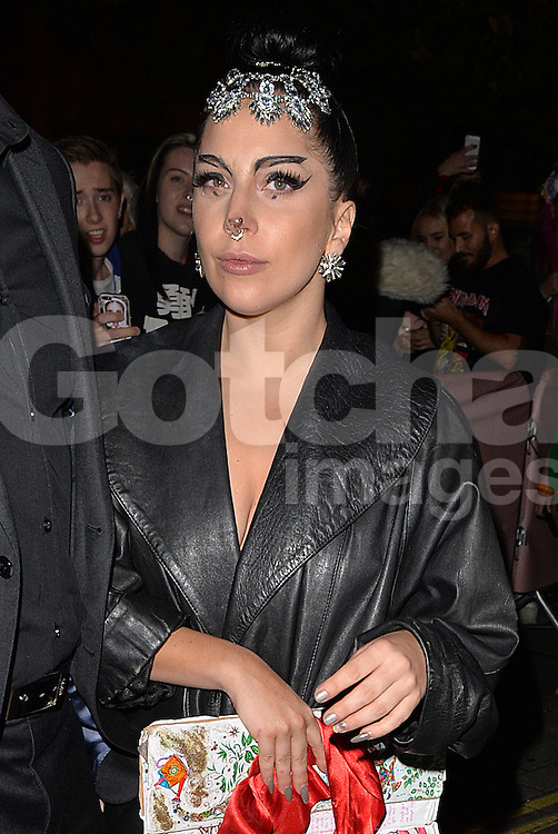 Singer Lady Gaga arriving at her The Langham Hotel after her performance at The O2 in London, UK. 26/10/2014<br /> BYLINE MUST READ : GOTCHAIMAGES.COM<br /> <br /> Copyright by &copy; Gotcha Images Ltd. All rights reserved.<br /> Usage of this image is conditional upon the acceptance <br /> of Gotcha Images Ltd, terms and conditions available at<br /> www.gotchaimages.com