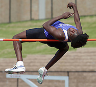 Middletown's Daniel Pierre high jumps during the Section 9 track and field state qualifier in Middletown on Friday, May 31, 2013.