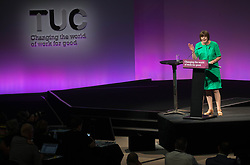 September 11, 2017 - London, London, United Kingdom - Image ©Licensed to i-Images Picture Agency. 11/09/2017. London, United Kingdom. TUC General secretary, Frances O'Grady,  gives her address to the TUC Conference in Brighton. Picture by Mark Thomas / i-Images (Credit Image: © Mark Thomas/i-Images via ZUMA Press)