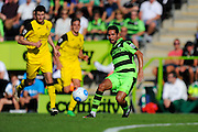 Fabien Robert (26) of Forset Green Rovers passes the ball during the Vanarama National League match between Forest Green Rovers and Southport at the New Lawn, Forest Green, United Kingdom on 29 August 2016. Photo by Graham Hunt.