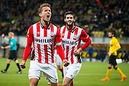 KERKRADE, Roda JC - PSV, voetbal, Eredivisie seizoen 2015-2016, 16-04-2016, Parkstad Limburg Stadion, PSV speler Luuk de Jong (2L) heeft de 0-2 gescoord, PSV speler Gaston Pereiro (M).