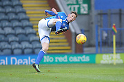 Joe Bunney shoots during the EFL Sky Bet League 1 match between Rochdale and Peterborough United at Spotland, Rochdale, England on 25 November 2017. Photo by Daniel Youngs.