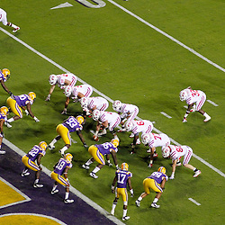 November 12, 2011; Baton Rouge, LA, USA;  The Western Kentucky Hilltoppers lineup against the LSU Tigers during the first quarter of a game at Tiger Stadium. LSU defeated Western Kentucky 42-9. Mandatory Credit: Derick E. Hingle-US PRESSWIRE