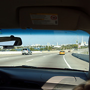 Vakantie Miami Amerika, snelweg, highway, auto, ruit, achteruitkijkspiegel