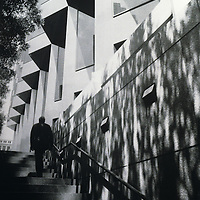 man ascending stairs in San Francisco, California
