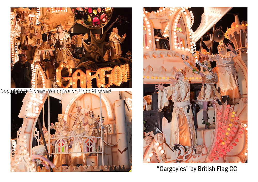 "A selection of three photographs of ""Gargoyles"", the entry in the 2010 Somerset Carnival circuit by British Flag Carnival Club. Grouped together for printing. Can be printed with or without a caption on either A4 or A3 heavweight fine art paper. Please indicate on your order whether or not you would like a caption."