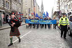 Piper leads campaigners down Royal Mile Edinburgh demanding the UK stays in the EU 24032018 pic copyright Terry Murden @edinburghelitemedia 07971 686038