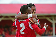 Ebbsfleet United midfielder Anthony Cook (2) celebrates his second goal 3-1 during the Vanarama National League South match between Ebbsfleet United and East Thurrock United at the Enclosed Ground, Whitehawk, United Kingdom on 4 March 2017. Photo by Jon Bromley.