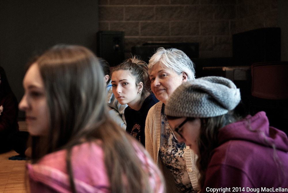Gail Murray is surrounded by students during her class at the Univeristy of Windsor School of Dramatic Art.