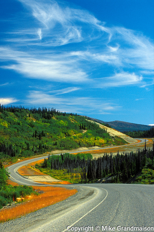 Alaska Highway winding through the Canadian North<br /> Alaska Highway <br /> Yukon<br /> Canada