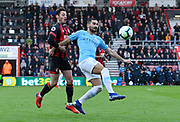 Nicolas Otamendi (30) of Manchester City battles for possession with Adam Smith (15) of AFC Bournemouth during the Premier League match between Bournemouth and Manchester City at the Vitality Stadium, Bournemouth, England on 2 March 2019.