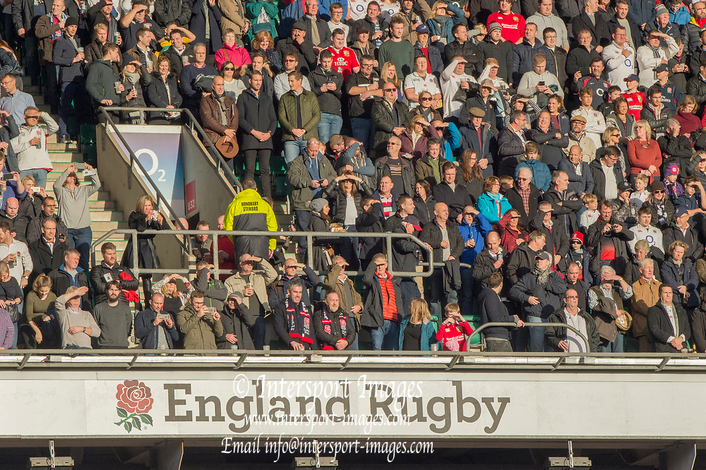 Twickenham, Surrey United Kingdom. Supporters in the stands.  England vs Argentina. Autumn International, Old Mutual Wealth series. RFU. Twickenham Stadium, England. <br /> <br /> Saturday  11.11.17.    <br /> <br /> [Mandatory Credit Peter SPURRIER/Intersport Images]