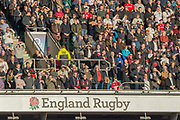 Twickenham, Surrey United Kingdom. Supporters in the stands.  England vs Argentina. Autumn International, Old Mutual Wealth series. RFU. Twickenham Stadium, England. <br /> <br /> Saturday  11.11.17.    <br /> <br /> [Mandatory Credit Peter SPURRIER/Intersport Images]