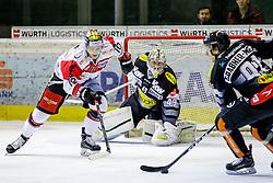 11.12.2016, Messestadion, Dornbirn, AUT, EBEL, Dornbirner Eishockey Club vs HC Orli Znojmo, 29. Runde, im Bild v. l. David Bartos, (HC Orli Znojmo, #10), Florian Hardy, (Dornbirner Eishockey Club, #49) und Martin Grabher Meier, (Dornbirner Eishockey Club, #91) // during the Erste Bank Icehockey League 29th round match between Dornbirner Eishockey Club and HC Orli Znojmo at the Messestadion in Dornbirn, Austria on 2016/12/11, EXPA Pictures © 2016, PhotoCredit: EXPA/ Peter Rinderer