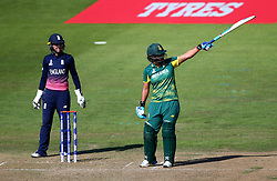 Chloe Tryon of South Africa Women lifts her bat up after scoring a half century - Mandatory by-line: Robbie Stephenson/JMP - 05/07/2017 - CRICKET - County Ground - Bristol, United Kingdom - England Women v South Africa Women - ICC Women's World Cup Group Stage