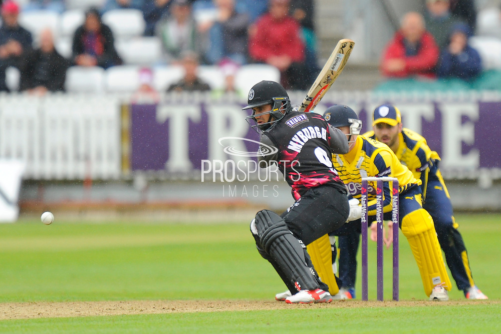 Somerset's Johann Myburgh during the NatWest T20 Blast South Group match between Somerset County Cricket Club and Hampshire County Cricket Club at the Cooper Associates County Ground, Taunton, United Kingdom on 19 June 2016. Photo by Graham Hunt.
