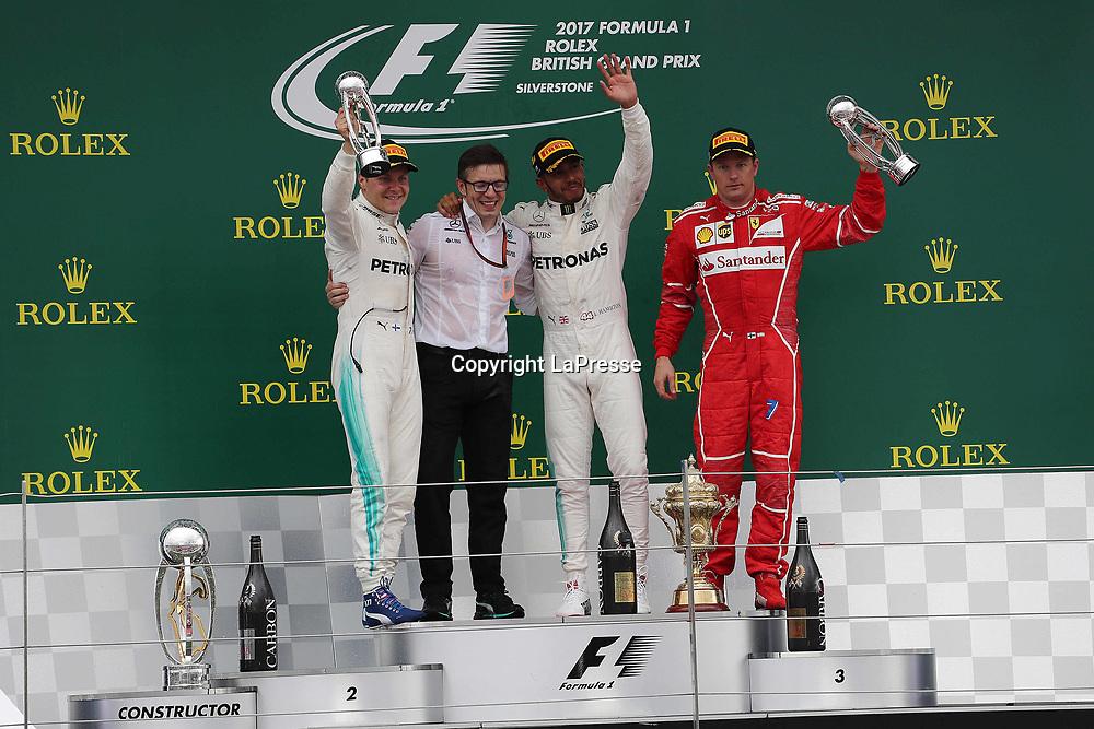 &copy; Photo4 / LaPresse<br /> 16/07/2017 Silverstone, England<br /> Sport <br /> Grand Prix Formula One England 2017<br /> In the pic podium:<br /> 1st position Lewis Hamilton (GBR) Mercedes AMG F1 W08 <br /> 2nd position Valtteri Bottas (FIN) Mercedes AMG F1 W08 <br /> 3rd position Kimi Raikkonen (FIN) Scuderia Ferrari SF70H