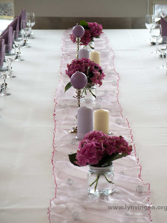Decorated table in pink Decorated table ready for a celebration