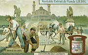 Surfacing a road with granite setts: Paris. Liebig trade card c1900. Chromolithograph