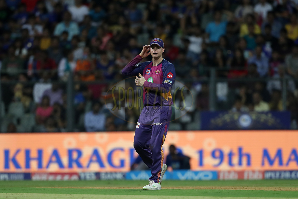 Rising Pune Supergiant captain Steven Smith during The Qualifier 1 match (match 57) of the Vivo 2017 Indian Premier League between the Mumbai Indians and the Rising Pune Supergiant held at the Wankhede Stadium in Mumbai, India on the 16th May 2017<br /> <br /> Photo by Ron Gaunt - Sportzpics - IPL