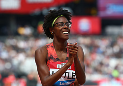 July 21, 2018 - London, United Kingdom - Shamier Little of USA celebrates winning the 400m Hurdles Women during the Muller Anniversary Games IAAF Diamond League Day One at The London Stadium on July 21, 2018 in London, England. (Credit Image: © Action Foto Sport/NurPhoto via ZUMA Press)